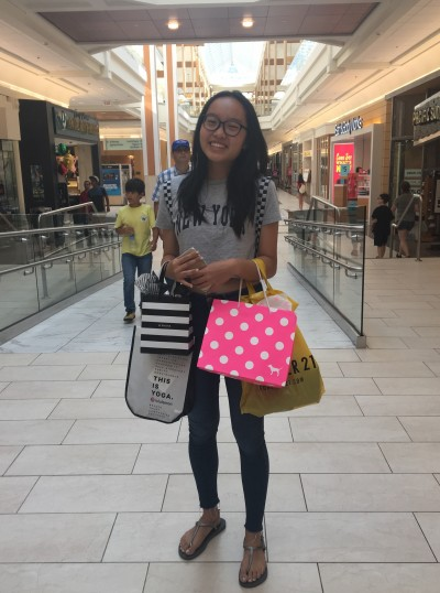 In the Pink: Karina Huang with her deals.